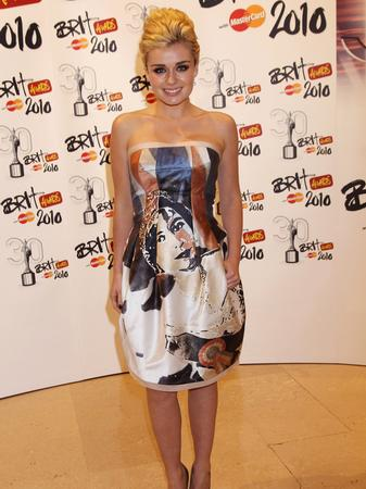 Katherine Jenkins wearing a printed dress at the Brits 2012