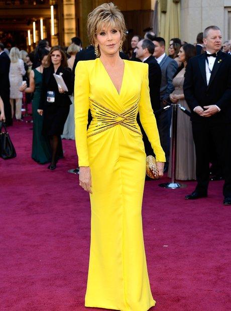 Jane Fonda attends the Oscars 2013 red carpet