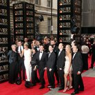 top hat arrive at the olivier awards