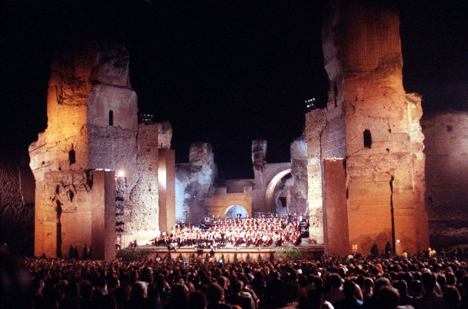 Rome city musical venues Caracalla Three Tenors opera 1990 World Cup