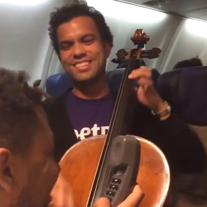 cellist beatbox duet on plane