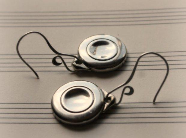 Flute key earrings