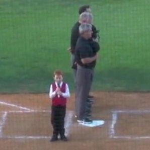 Boy hiccoughs natoinal anthem
