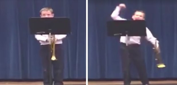 trumpet kid celebrates